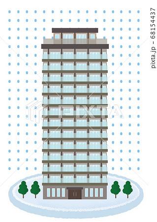 大雪の被害に遭う高層マンションのベクターイラスト 68154437