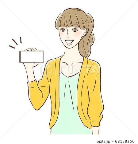 笑顔でスマホの画面をこちらに見せる女性_横持ち 68159356