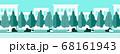 【背景素材】シームレス 都市の公園、歩道のフラットデザイン背景イラスト 横方向に繋げられるシームレス 68161943