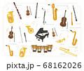 【楽器】オーケストラ、ブラスバンド 基本編成楽器のベクターイラスト 68162026