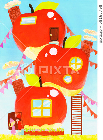 童話ちっくなアナログイラスト りんごのお家 68165798