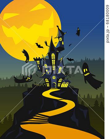 ハロウィーン向けの怪しげなお城と月3 68180009