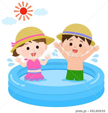 ビニールプールで遊ぶ女の子と男の子 イラスト 68180636
