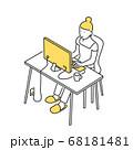 自宅で仕事をする女性のイラスト素材 68181481