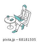 カフェスペースでモバイルワークをしている男性のイラスト素材 68181505