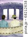 猪牙舟に乗り橋を眺める男性二人 68212638