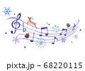 冬イメージの音符と5線符の手描き色鉛筆画のイラスト 68220115