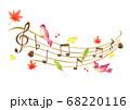 秋イメージの音符と5線符の手描き色鉛筆画のイラスト 68220116