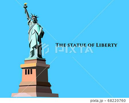 ポリゴンでシンプルに描いた自由の女神のベクターイラスト 68220760