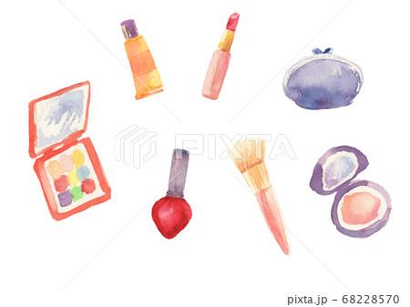 水彩で描いた化粧品のイラストセット 68228570