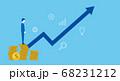 硬貨の上に立つ男性と矢印、投資や売上アップのイメージ 68231212