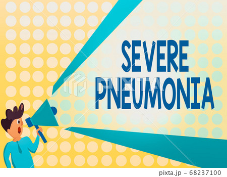 Handwriting text Severe Pneumonia. Concept meaning 68237100