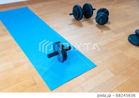在宅腹筋ローラーでのトレーニング中の風景 68245636