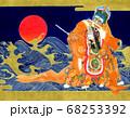 黄金の雲と波と日の出を背景に舞う蘭陵王と童舞 68253392