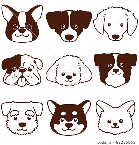 色々な犬の顔セット 主線のみ白抜き 68255955