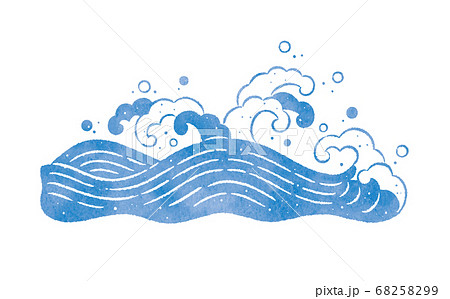 海と波の和風のイラスト 68258299
