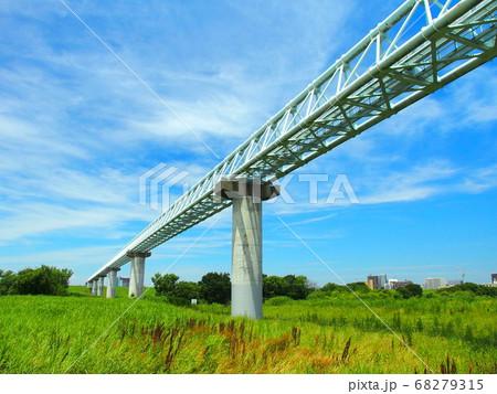 ガス導管の架かる初夏の江戸川河川敷風景 68279315