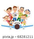 飛行機に乗って 旅行 三世代家族 アロハシャツ 68281211