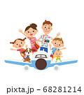 飛行機に乗って 旅行 家族 アロハシャツ 68281214