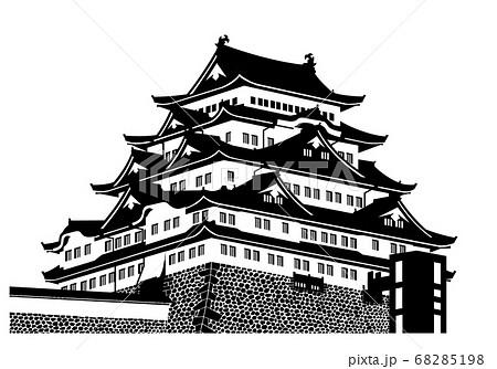 名古屋城 天守(大天守) 白黒シルエット 68285198