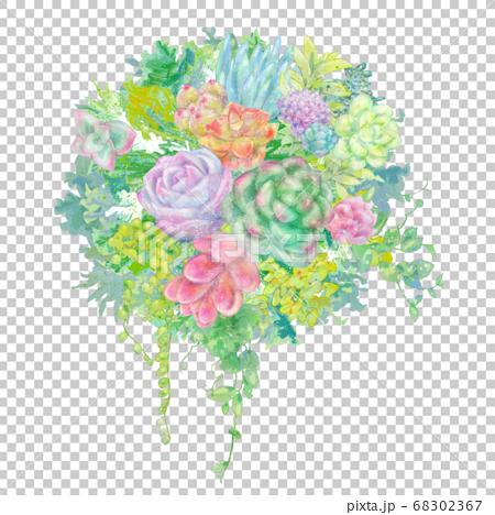 多彩的肉質花束的插圖 68302367