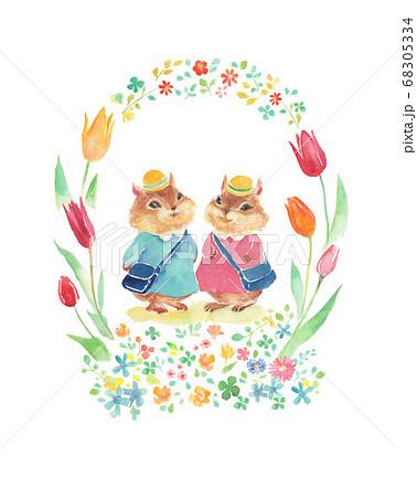 花のフレームと入園式に行くリスのイラスト 68305334