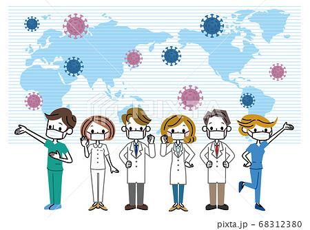 ウイルスと戦う医療従業者 68312380