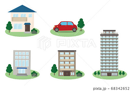 様々なタイプの建物・自動車のベクターイラスト 68342652