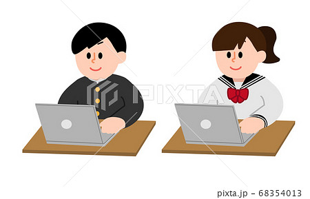 パソコン操作する男子女子学生(シンプルカラー) 68354013