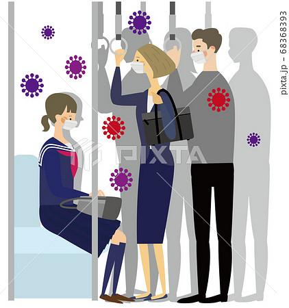 ウイルスが満映する満員電車でマスクをする人々 68368393