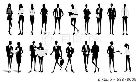 ベクター素材:ビジネス、人々のシルエット、人物セット 68378009