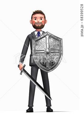 盾と剣をもって戦うビジネスマンのイラスト 68399528