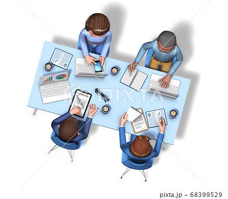 俯瞰から見た、4人の会議中のビジネスマンの3Dイラスト 68399529