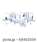 日本で働く人々 ビルとアイコンと人々 イラスト アイソメトリック 68402034