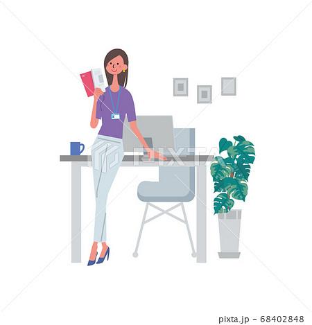 本を読む女性 資格勉強 資料を手に持つ女性 イラスト 68402848