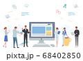 オフィスで働く人々 パソコン ネットワーク アイコン イラスト 68402850