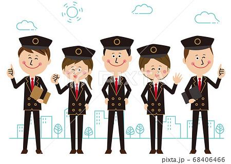 駅員orタクシー運転手orパイロットの男女が集まってポーズ 街の背景つき 68406466