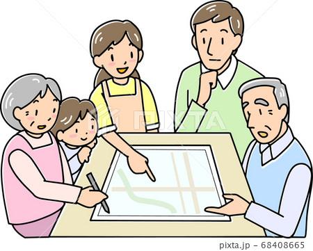 我が家の避難場所を確認する家族 68408665