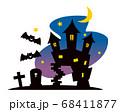 ハロウィン 洋館と夜景のイラスト 68411877