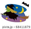 箒に乗って空を飛ぶ魔女 イラスト 68411879