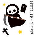死神とお墓 ハロウィンのモンスターのイラスト 68411884