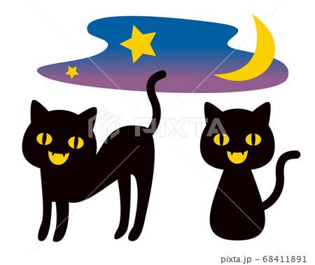 黒猫 ハロウィンのイラスト 68411891