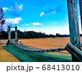 芝生公園にあるアスレチック遊具を斜め横から見たところ 68413010