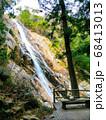 岩場を水しぶきを上げながら流れ落ちる滝と眺めるベンチ 68413013