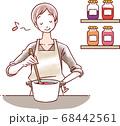 料理する女性 68442561