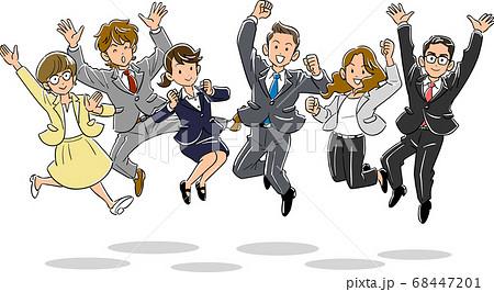 ジャンプする若いビジネスチーム 68447201