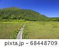北海道倶知安町の鏡沼の木道とニセコ連峰 68448709