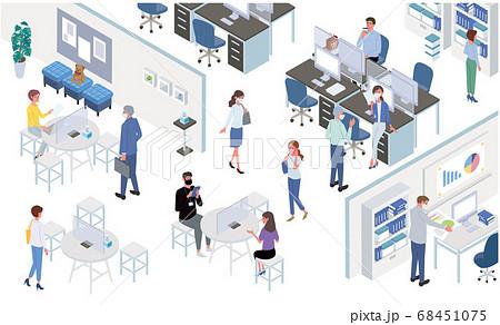 感染対策をするオフィスのイラスト ニューノーマル 働く人々 アイソメトリック 68451075