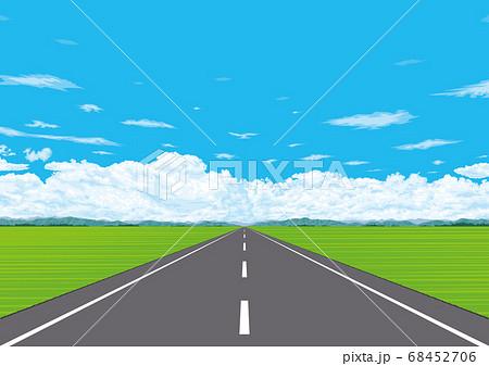 広大な郊外の地平線に続く一本道 68452706