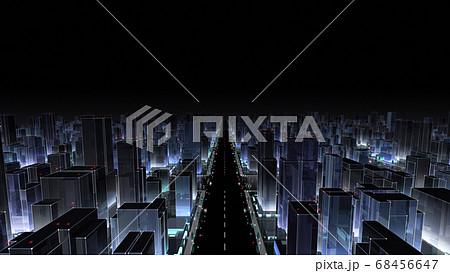 都市 夜 街 ビル 建物 シティ オフィスビル ビジネス街 オフィス街 3D イラスト 背景 バック 68456647